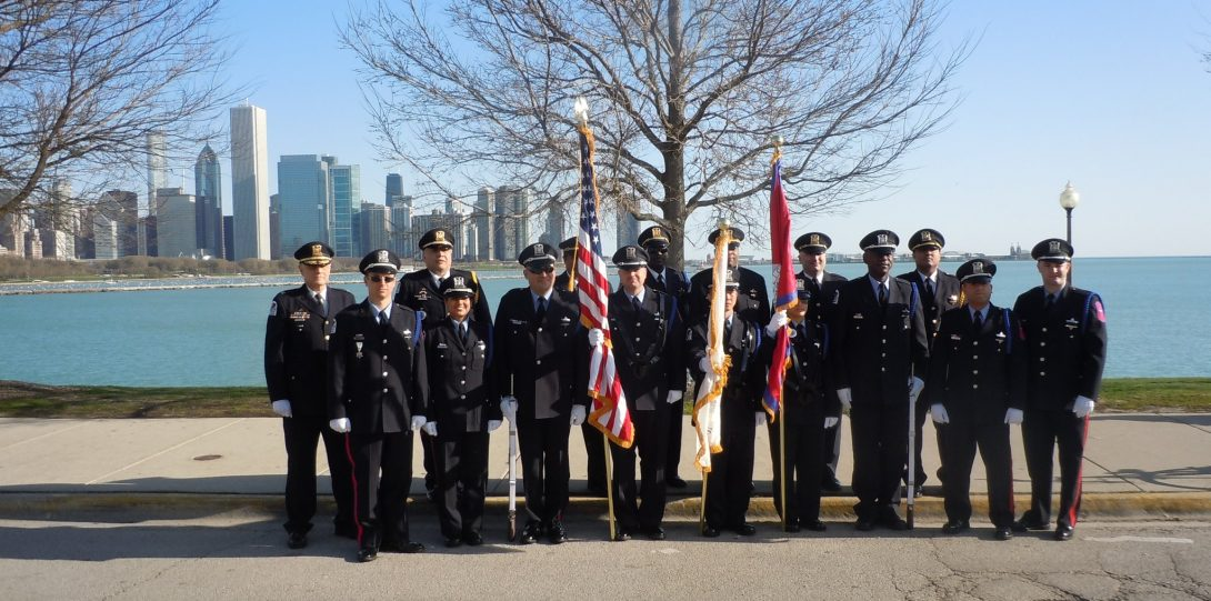 Honor guard near Lake Michigan