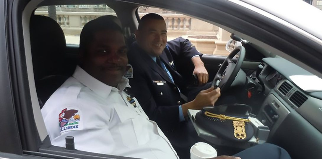 Honor guard members in vehicle