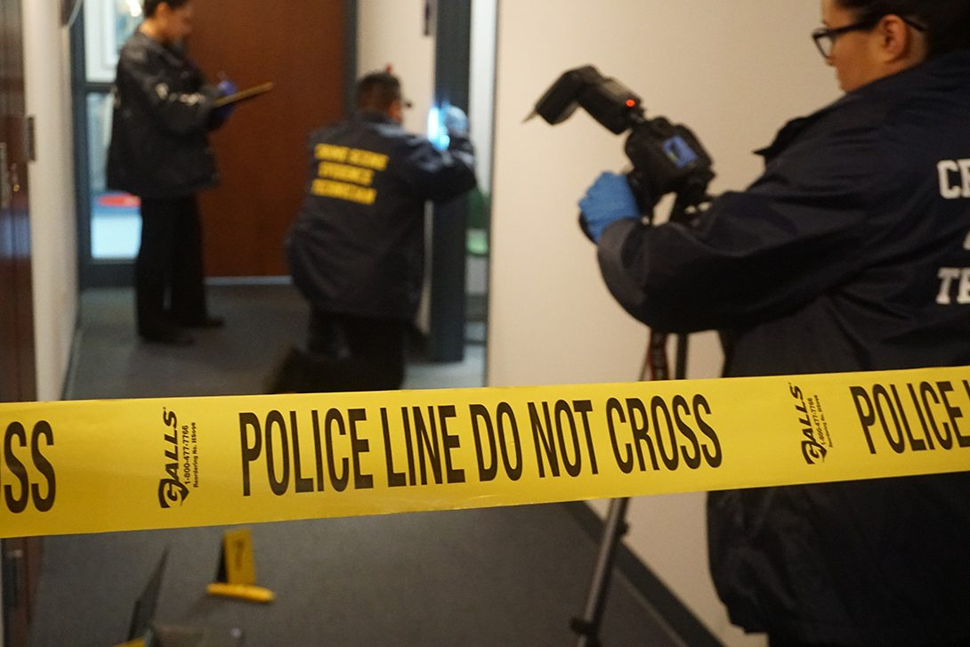 UICPD Evidence Technicians gathering evidence at a crime scene