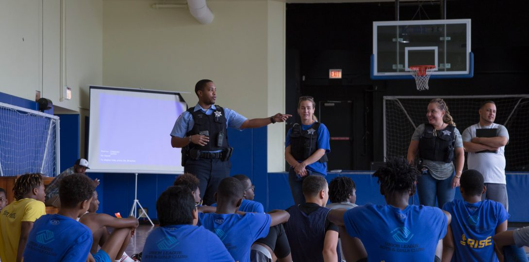 Officer speaking to Boys & Girls Club