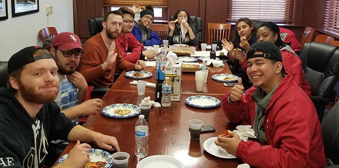 Student Patrol Members at breakfast
