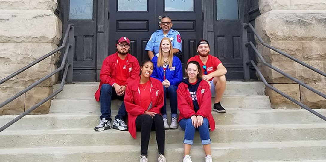 Student Patrol Members in front of station house