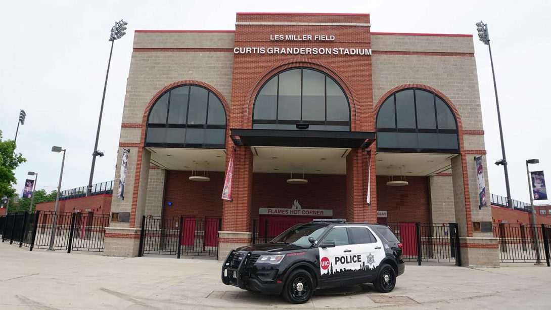 UIC PD vehicle in front of Curtis Granderson field