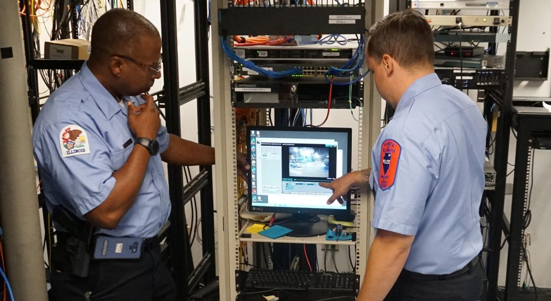 Two UIC PD staff members in the server room