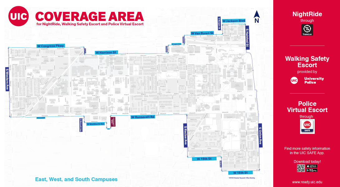 Walking Safety Escort coverage area